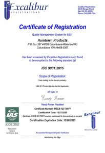 2020 Humtown ISO Certificate